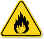 triangular fire warning icon